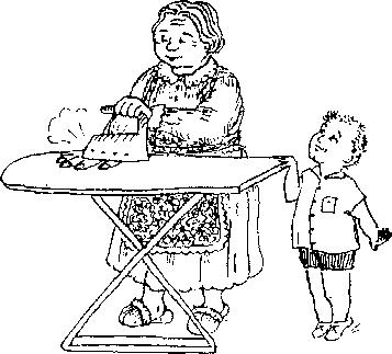 Тема поучает бабушку.