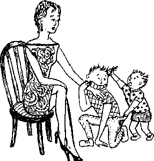 Тема защищает маму.